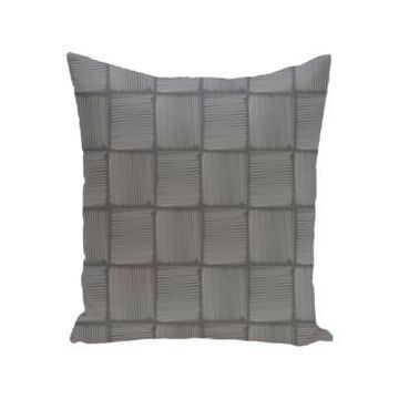 16 Inch Gray Decorative Squares Throw Pillow