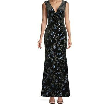 AIDAN MATTOX Black Sleeveless Full-Length Dress 6