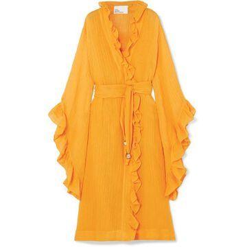 Lisa Marie Fernandez - Anita Ruffled Linen-blend Gauze Wrap Dress - Orange