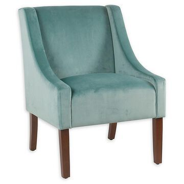 Homepop Fabric Upholstered Accent Chair In Aqua Blue