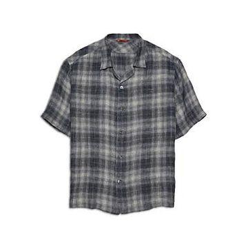 Barena Solana Romaso Check Linen Relaxed Fit Short Sleeve Button Down Shirt
