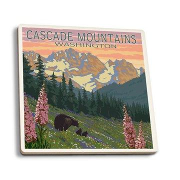 Cascade Mountains, Washington - Bears & Spring Flowers - Lantern Press Poster (Set of 4 Ceramic Coasters - Cork-backed, Absorbent)