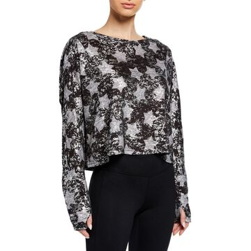 Foil Star-Print Cropped Pullover Sweater