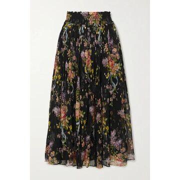 Needle & Thread - Smocked Metallic Floral-print Fil Coupe Chiffon Midi Skirt - Black