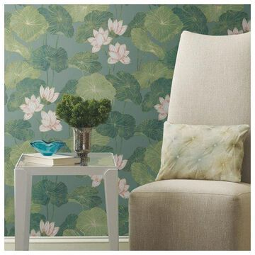 Aqua Lily Pads Peel & Stick Wallpaper