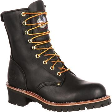 Georgia Boot: Men's Steel Toe Black Logger Work Boot - Style #G8320