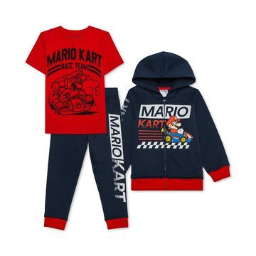Toddler Boys 3-Pc. Mario Kart Hoodie, T-Shirt & Joggers Set