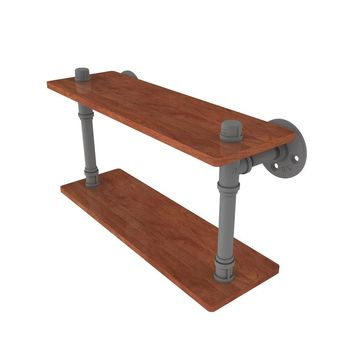 Allied Brass Pipeline Collection hardwood Double Shelf