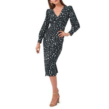 1.state Long Sleeve V-Neck Button Front Dress