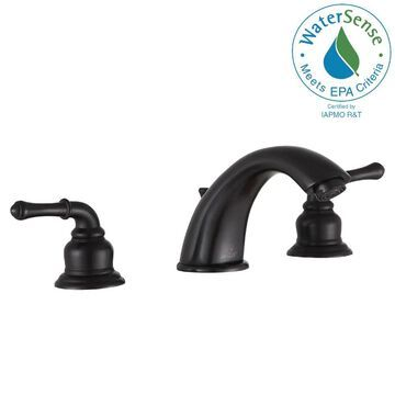 ANZZI Prince Oil Rubbed Bronze 2-Handle Widespread WaterSense Bathroom Sink Faucet with Drain | L-AZ136ORB