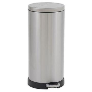 Household Essentials 30-Liter Stainless Steel Round Step Trash Can