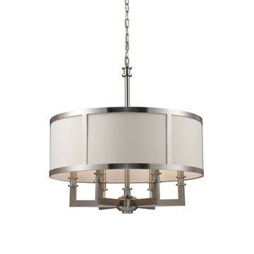Westmore Lighting Spandau 6-Light Satin Nickel Transitional Drum Chandelier