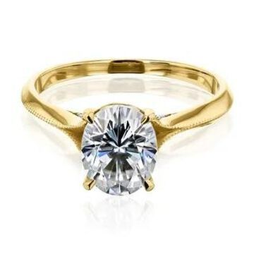 Annello by Kobelli 14K Gold 2ct Oval Moissanite Cathedral Engagement Ring (GH/VS, GH/I)