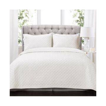 Lush Decor Ava Diamond Oversized Cotton 3 Piece Quilt Set, Full/Queen