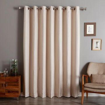 Aurora Home Wide Width Basketweave Linen Look Grommet Curtain Panel