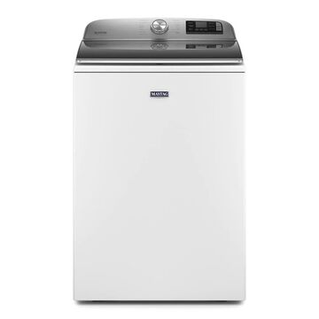Maytag 5.3-cu ft Smart Capable High-Efficiency Top-Load Washer with Extra Power Button - White Stainless Steel | MVW7232HW