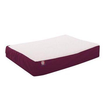 Majestic Pet Poly/Cotton & Sherpa Orthopedic Double Dog Bed Burgundy Large 34