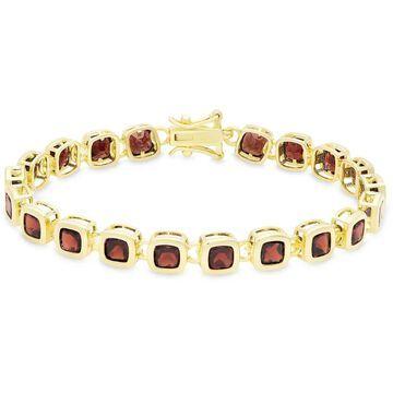 Dolce Giavonna Gold Over Sterling Silver Square Gemstone Link Bracelet