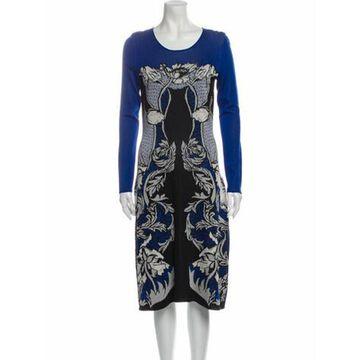 Printed Midi Length Dress Blue