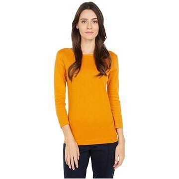 Three Dots 100% Cotton Heritage Knit 3/4 Sleeve British Tee (Inca Gold) Women's Long Sleeve Pullover