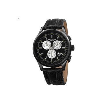 Akribos XXIV Mens Black Strap Watch-A-863bk