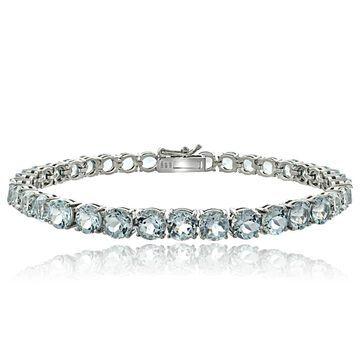 Glitzy Rocks Sterling Silver Aquamarine Tennis Bracelet (P9390-AQ)