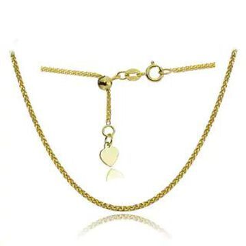 Mondevio 14k White Gold 0.8mm Spiga Wheat Adjustable Italian Chain Necklace, 14-20 Inches (Yellow)