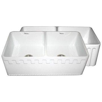 Whitehaus WHFLATN3318 Athinahaus or Fluted Reversible Double Bowl Farm Sink
