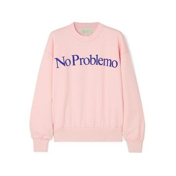 Aries - No Problemo Flocked Cotton-fleece Sweatshirt - Pastel pink