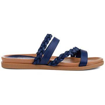 Brinley Co. Womens Braided Slip-on Sandal Blue