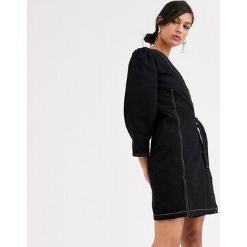 Monki mini denim wrap dress in black