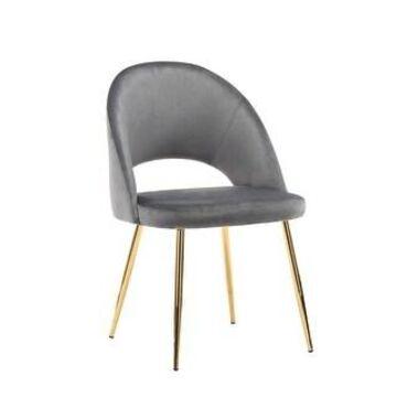 Porthos Home Batia Dining Chair, Velvet Upholstery, Gold Metal Legs