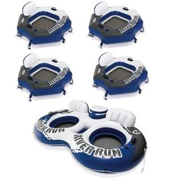 Intex River Run Connect Inflatable Water Raft (4 Pack) + 2 Person Cooler Tube
