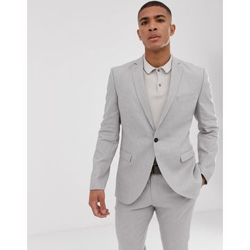 Selected Homme slim suit jacket in sand linen stretch-Beige