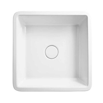 Ronbow Stage White Ceramic 16-inch Square Above-counter No Overflow Vessel Sink