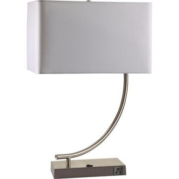 ORE International 22.5-in Silver Table Lamp with Linen Shade