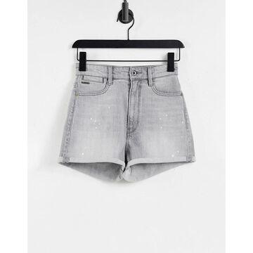 G-Star tedie ultra high rise rolled hem distressed denim shorts in gray-Grey
