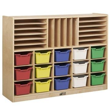Multi-Section Storage Cabinet with 15 Bins - Assorted