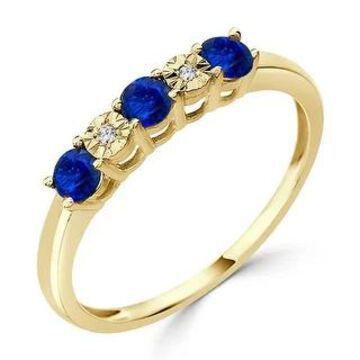 Auriya 10k Gold 1/3ctw 5 Stone Blue Sapphire Gem and Diamond Wedding Band (Yellow - 7)