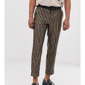 Heart & Dagger slim fit smart pants in stone stripe