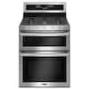 Maytag 5-Burner 2.1-cu ft / 3.9-cu ft Self-cleaning Double Oven Convection Gas Range (Fingerprint Resistant Stainless Steel) (Common: 30-in; Actual: 29.93-in)
