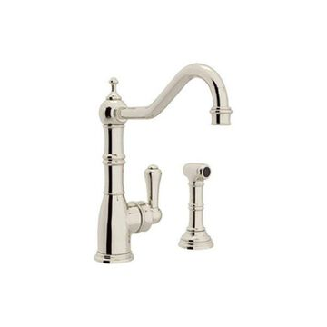 Rohl Kitchen Faucet and Metal Lever Handle in Polished Nickel