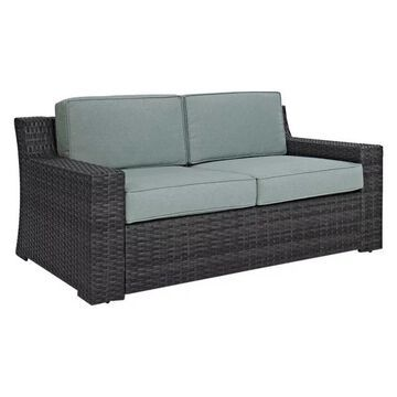 Pemberly Row Wicker Patio Loveseat in Brown and Mist