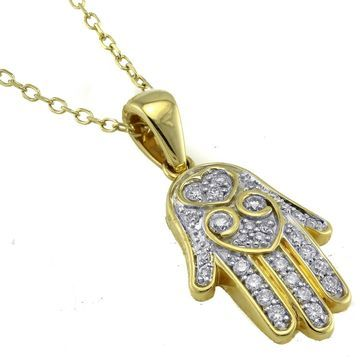 14k Yellow Gold 1/4ct. TDW Diamond Hamsa Necklace by Beverly Hills Charm
