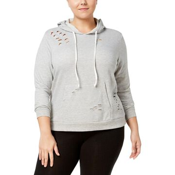 No Comment Womens Plus Destroyed Long Sleeve Hoodie