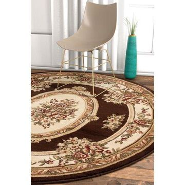 Well Woven Timeless Le Petit Palais Traditional Medallion Floral Brown 7'10