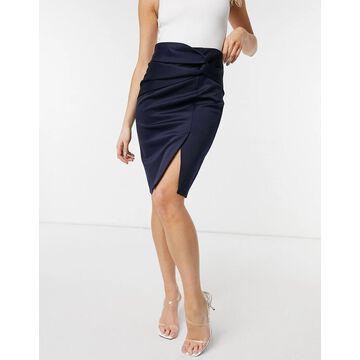 Closet London twist front knee length pencil skirt in navy