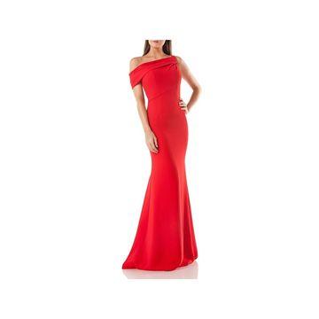 Carmen Marc Valvo Womens Evening Dress One Shoulder Trumpet