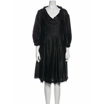 Silk Knee-Length Dress w/ Tags Black