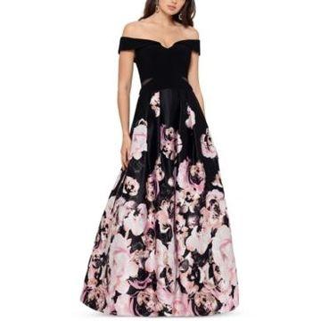 Xscape Petite Off-The-Shoulder Floral-Print Ball Gown